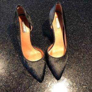 Halogen Black Calf Fur High Heels Size 9